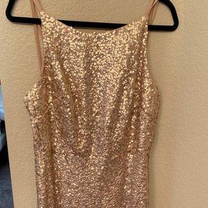 Long Sequin Rose Gold Dress